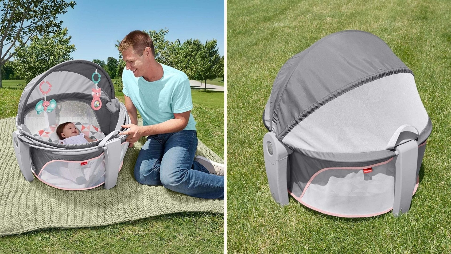 A Fisher-Price baby dome that helps keep small babies contained and safe at the beach.