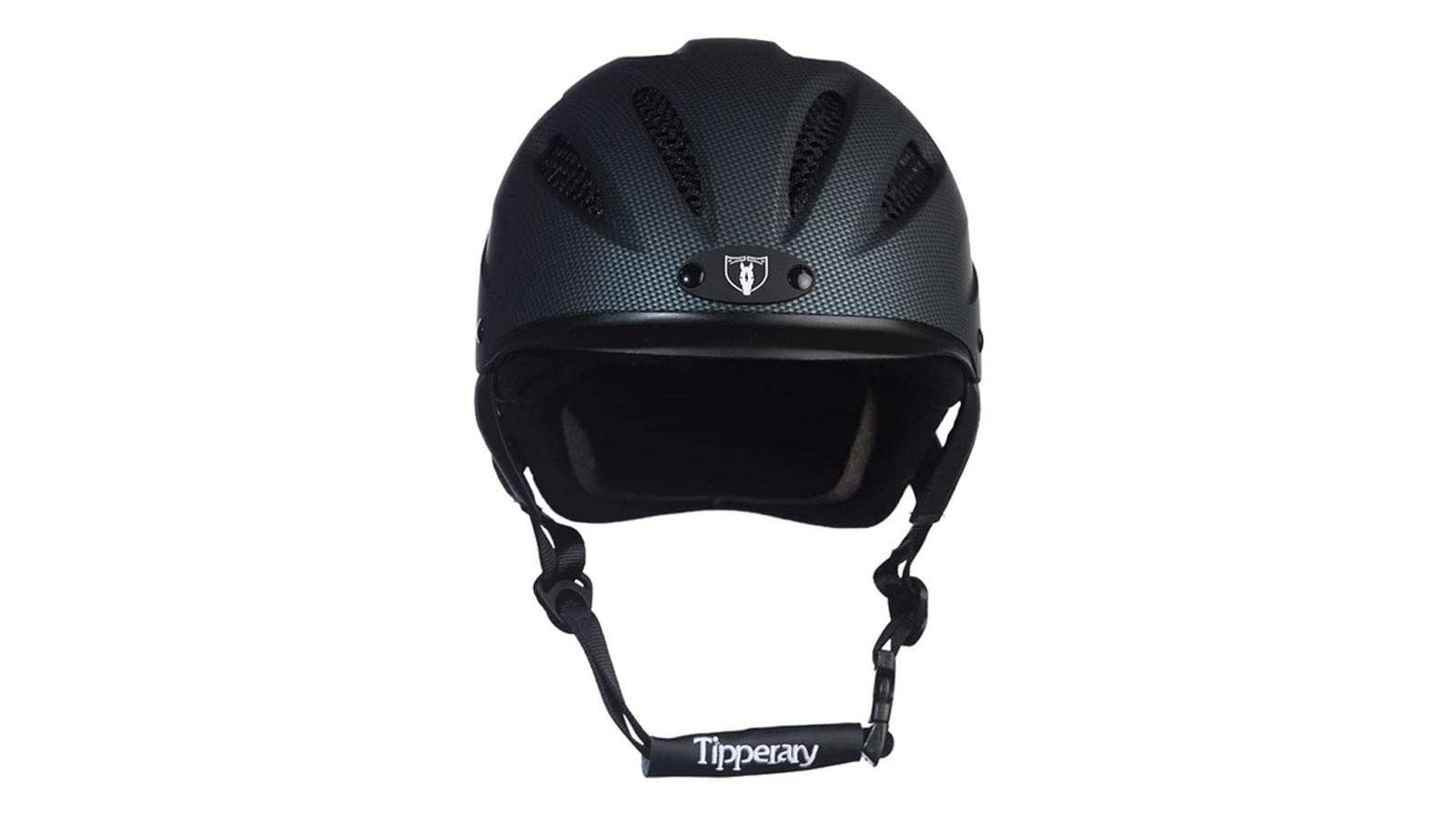 A black horse riding helmet against a white background.