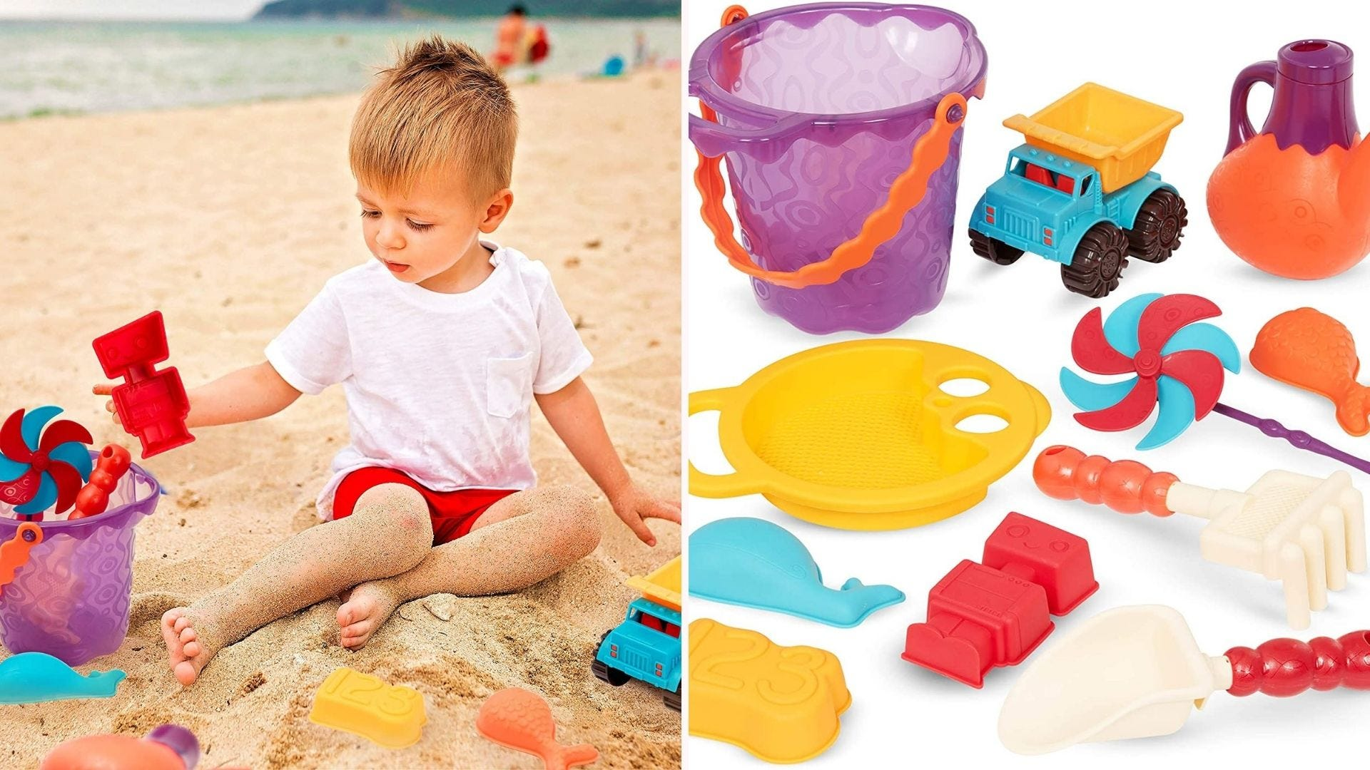 A boy at the beach playing with beach toys.