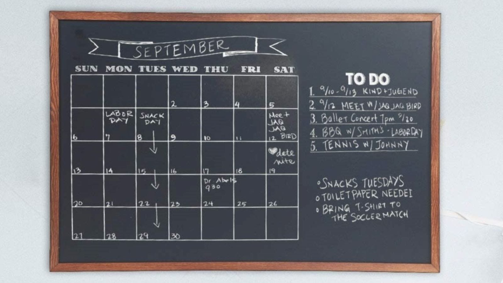 The month of September and a To do list on a chalkboard.