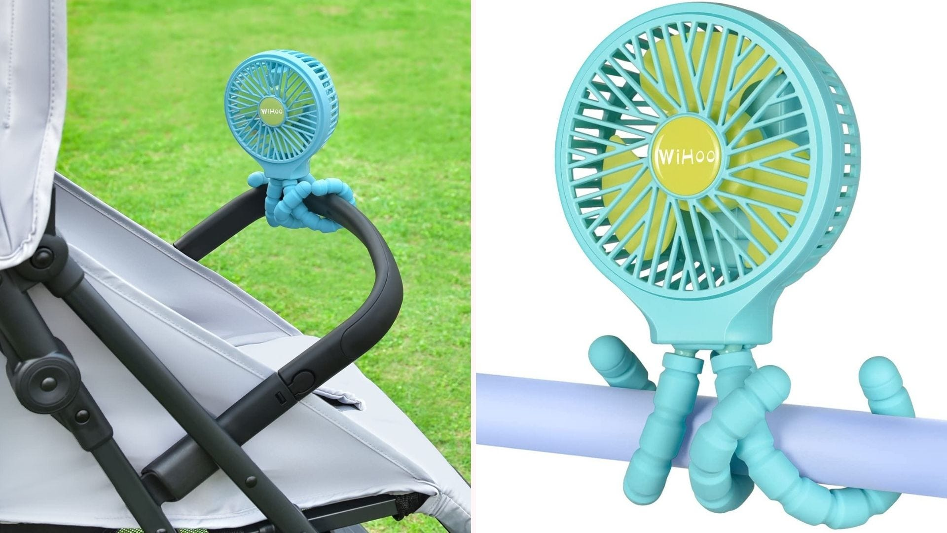 a small fan with bendy legs wrapped on bars