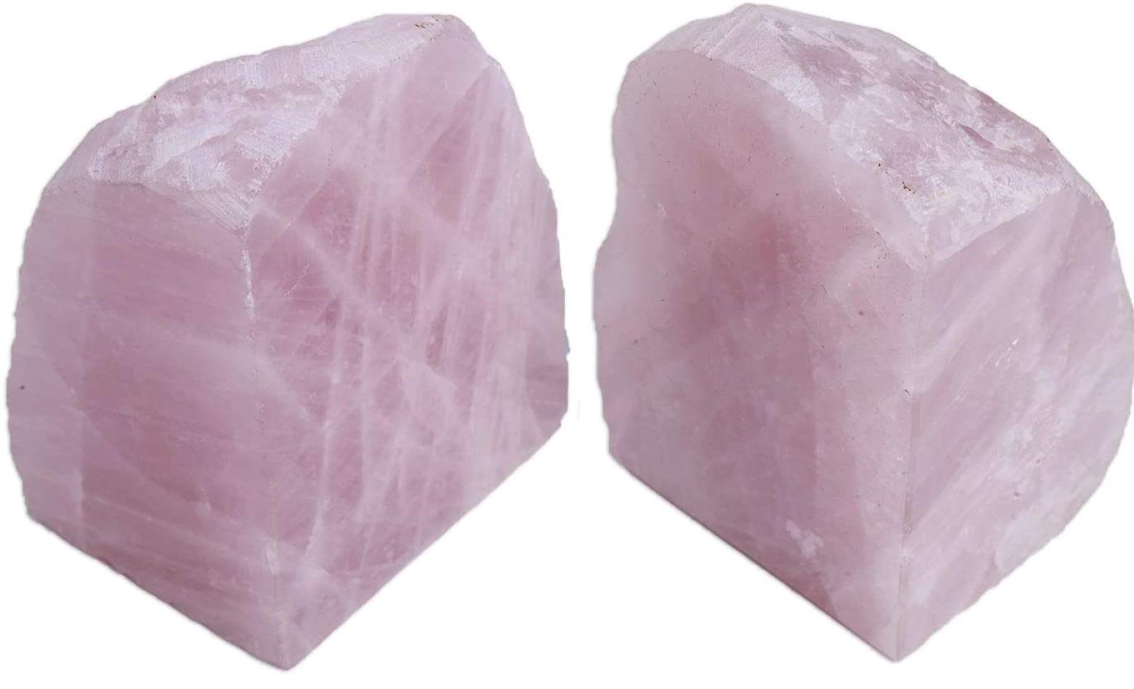 Two rose quartz bookends.