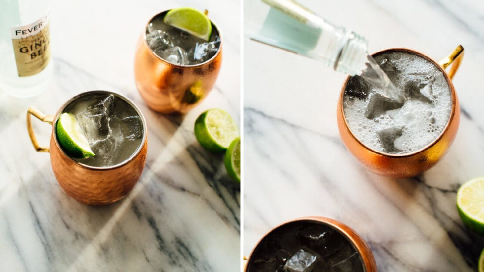 Two images; the left image features to copper mugs with a Moscow mule cocktail made up inside, garnished with a lime wedge, and the right image features someone pouring ginger beer into the mug, to make a mule cocktail.