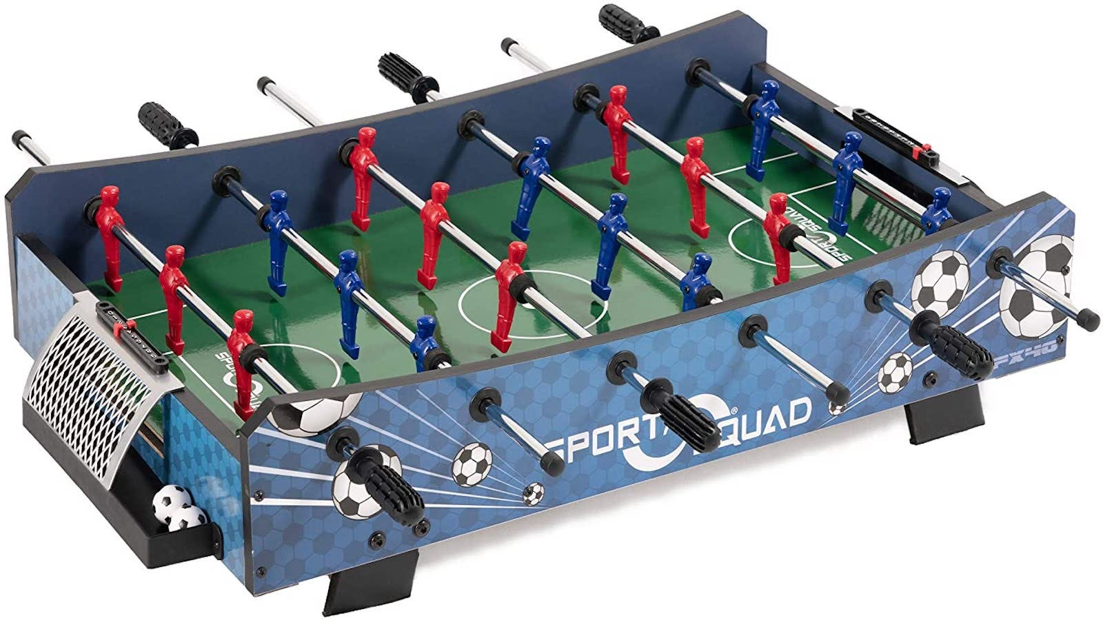 blue tabletop foosball table with a soccer ball pattern and red and blue players