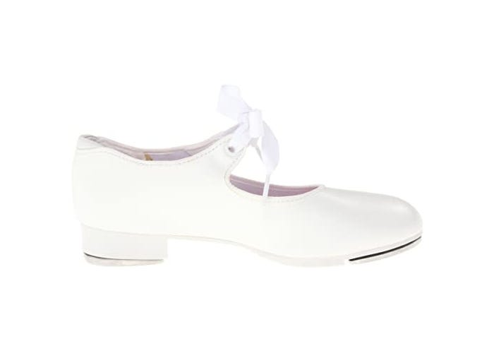 side view of a girl's white tap shoe with bow on strap