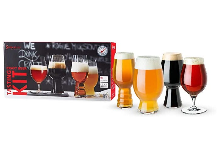 four full craft beer glasses displayed by brand box
