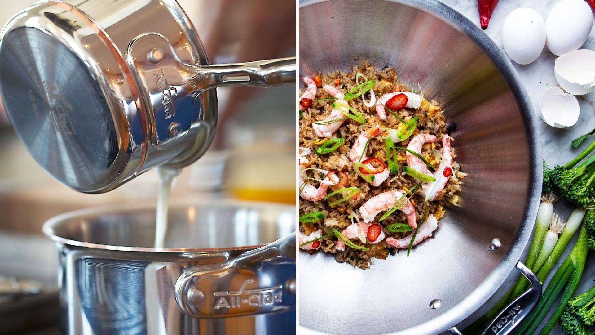 Two images featuring the All-Clad copper core cookware. The left image features two pots and the right image features a wok skillet with various ingredients surrounding the pan.