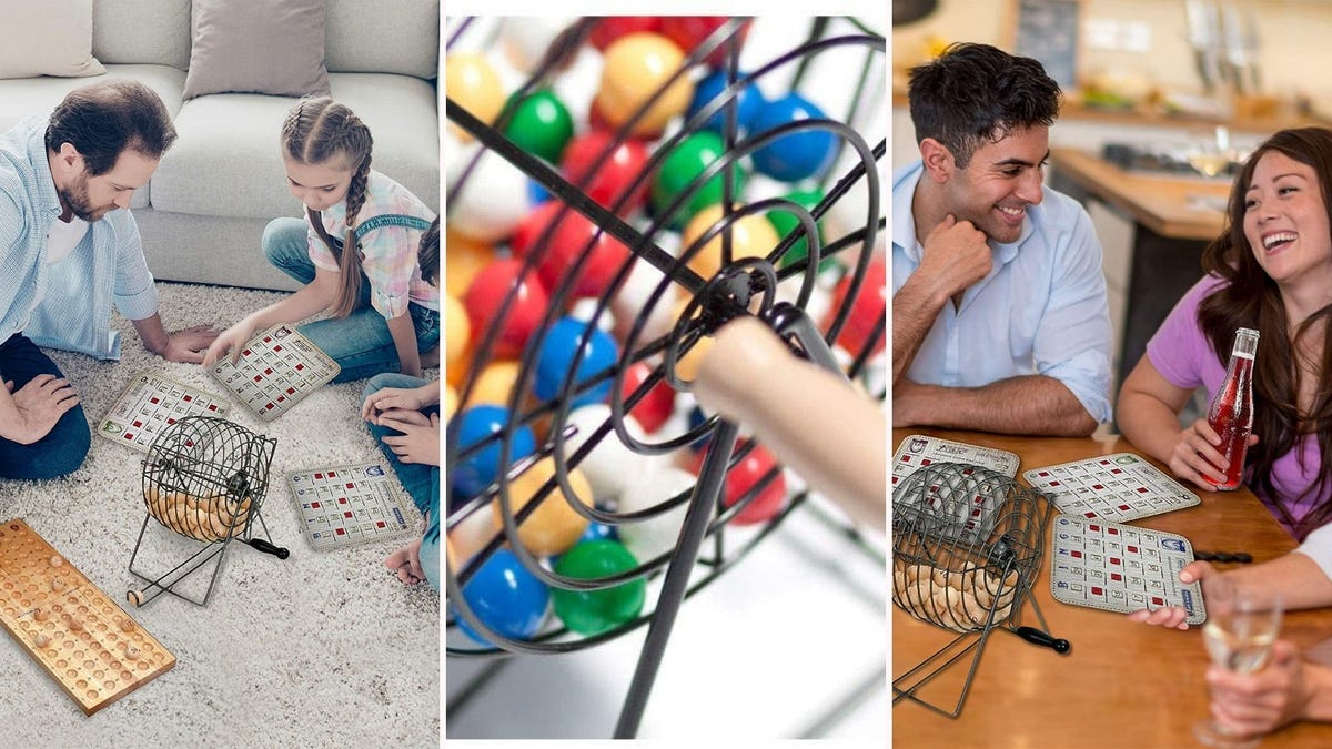 bingo sets with cages being played with by families and friends