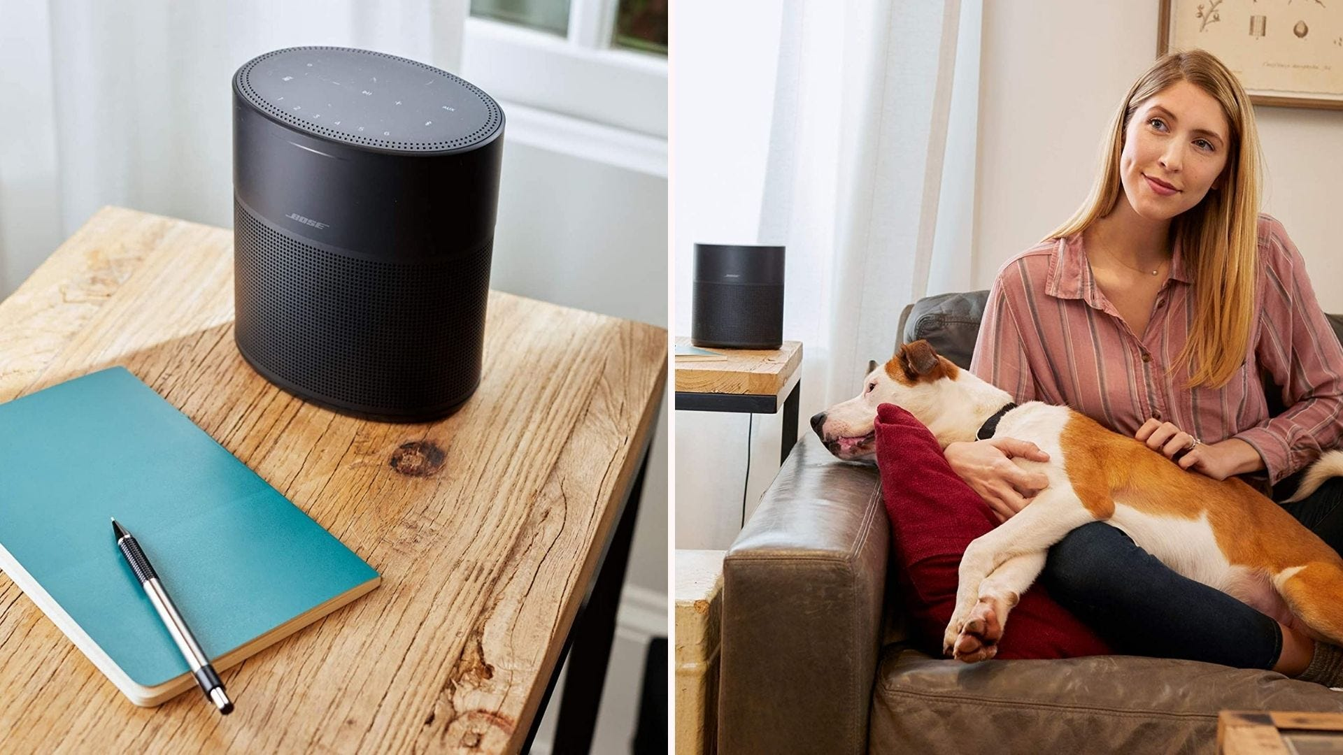 On the left, a four-inch long speaker sits on a table in a house. On the right, a woman and her dog sit on the couch while the speaker plays music nearby.