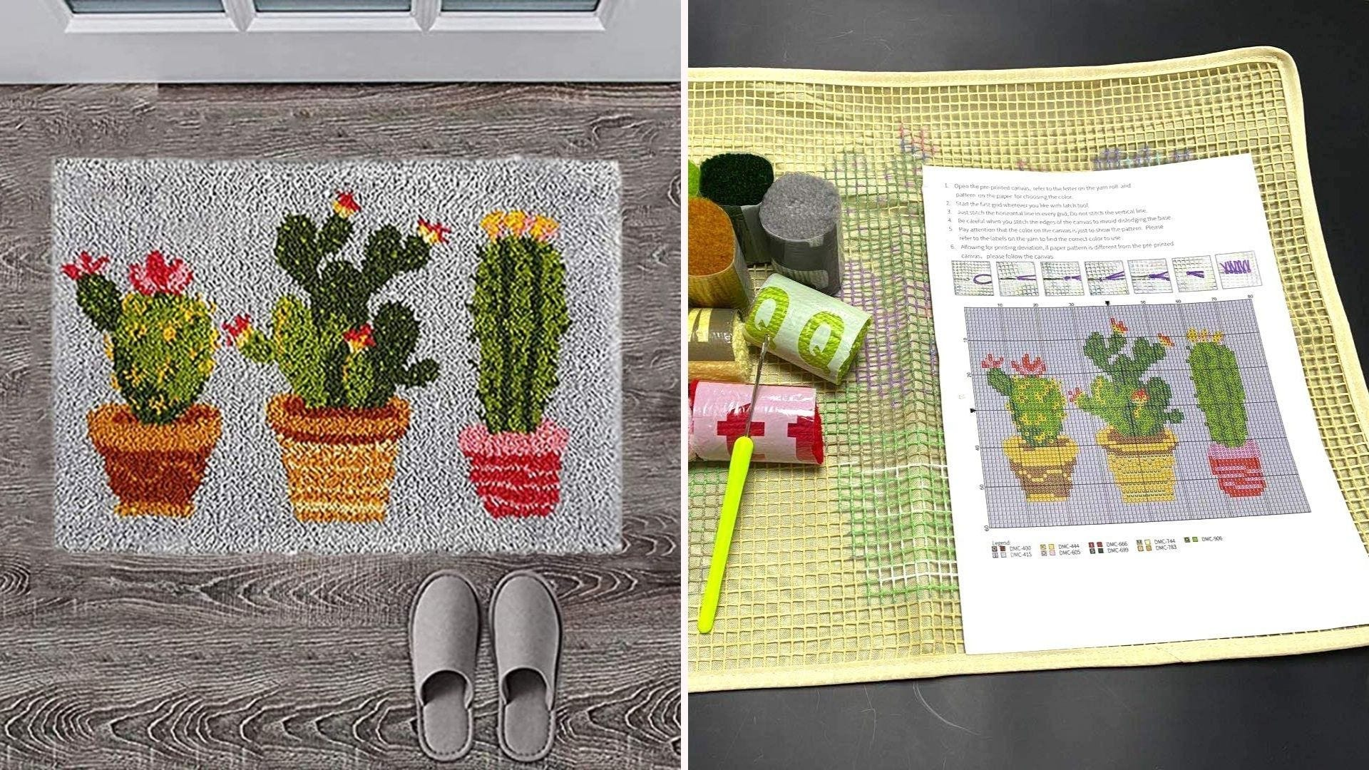 a cactus patterned rug in front of a door and the latch hook kit to create it
