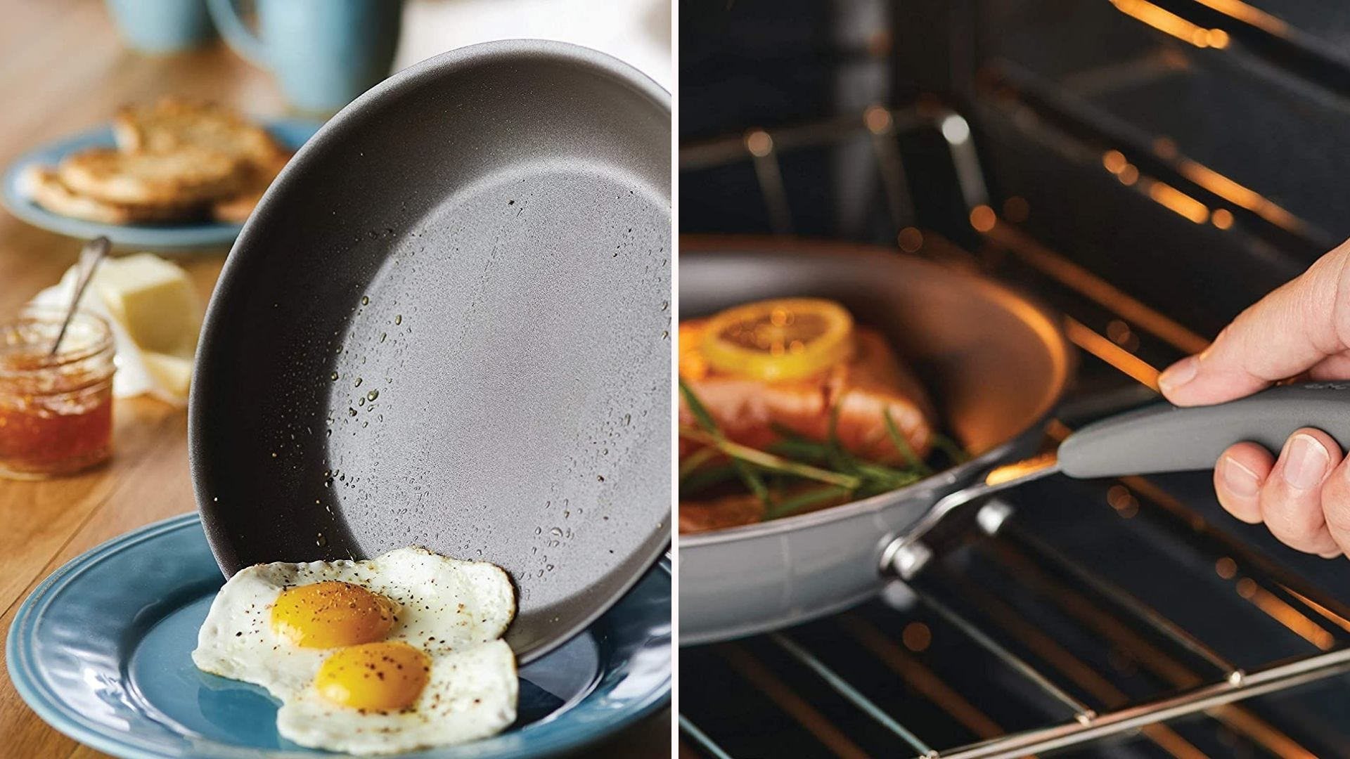 Two skillets from the Rachel Ray nonstick cookware collection.