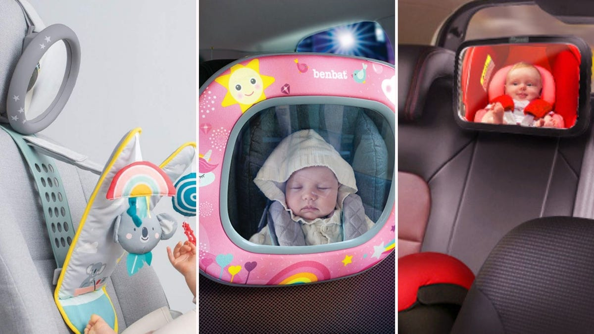 three different baby mirrors positioned on car seat head rests
