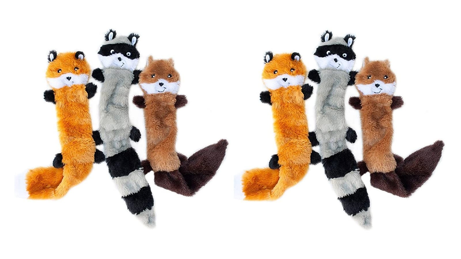 six soft fix, raccoon, and squirrel dog toys