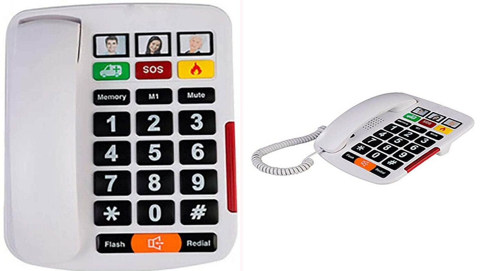 a white corded phone with large buttons and emergency call buttons
