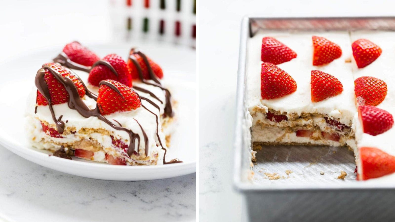 Two images: The left image features a peice of strawberry icebox cake and the right image features an entire cake with one missing peice.