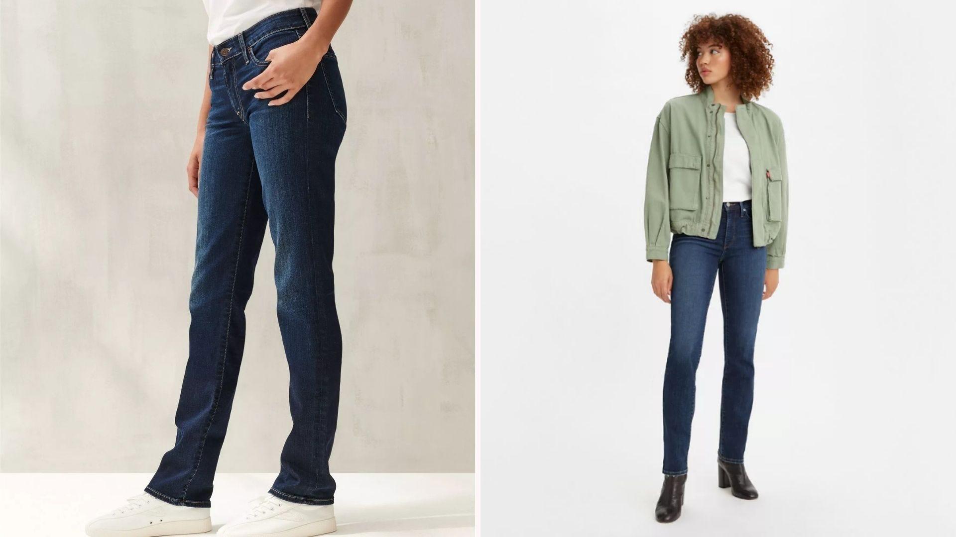 Two tall women wearing dark, long jeans