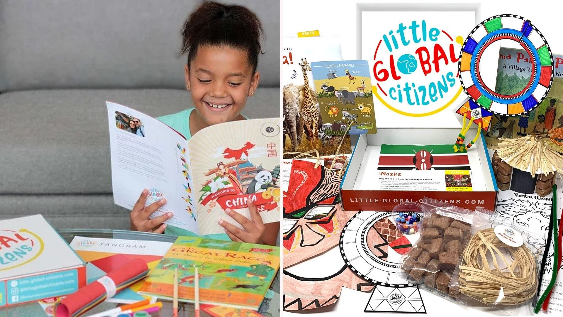 A girl reading a book; a box with miscellaneous books, crafts, and more
