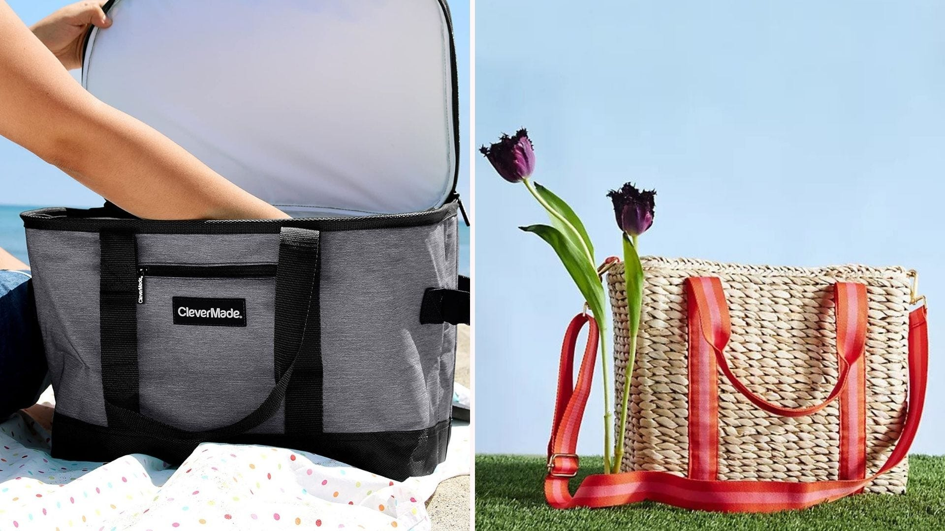 """A gray cooler with its lid open; a """"picnic basket"""" woven tote bag"""