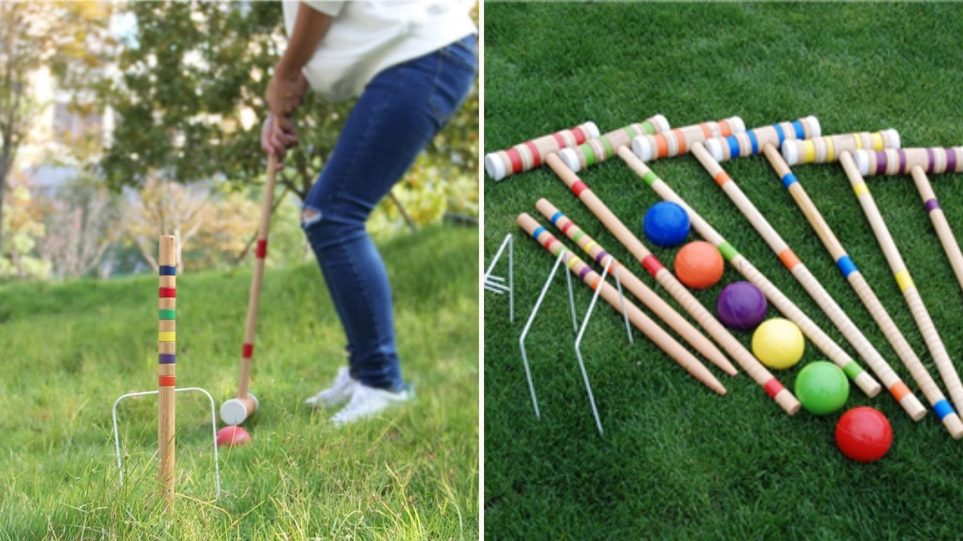 A person playing croquet; a series of croquet mallets and balls