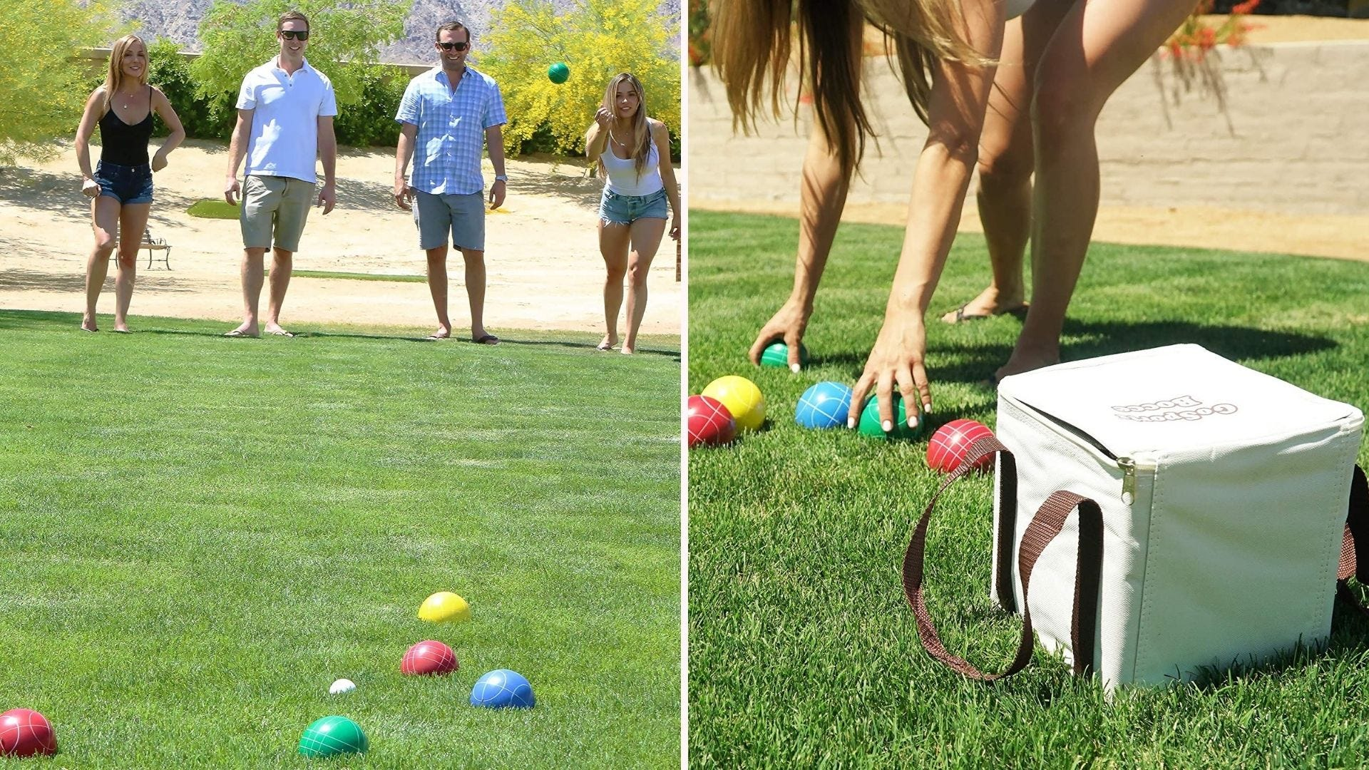 A family playing bocce on the grass