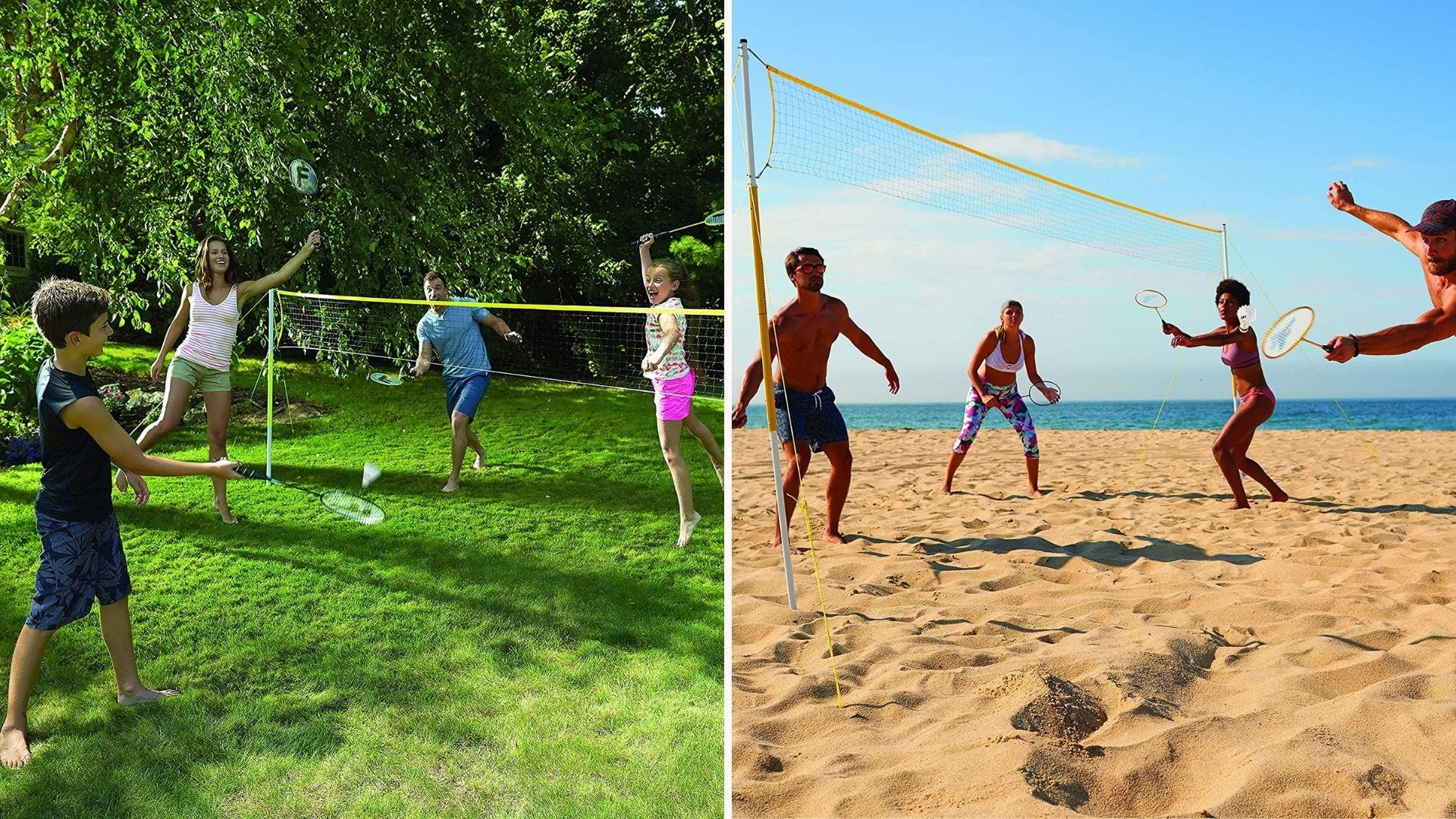 People playing badminton on a grassy lawn and on a beach
