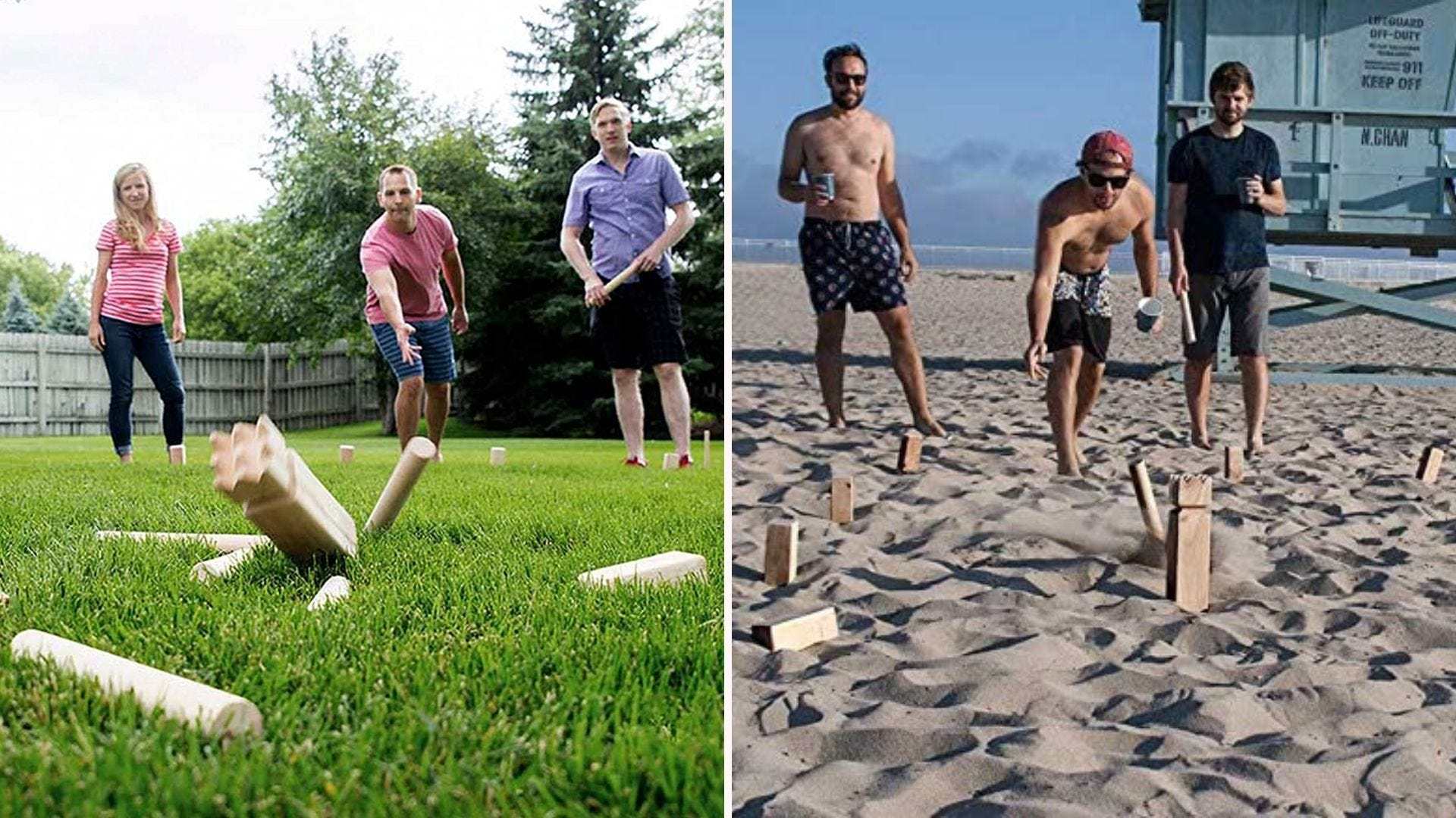 Two groups of people playing kubb: one on the lawn, one on the beach