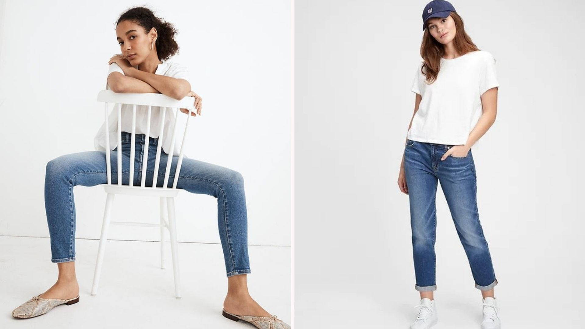 Two women wearing cropped jeans and white tops