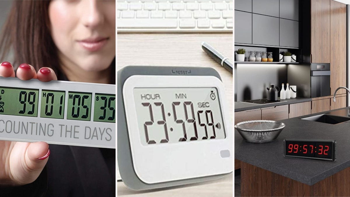 three different countdown timers; one in a woman's hand, one on a desk, one on a kitchen counter