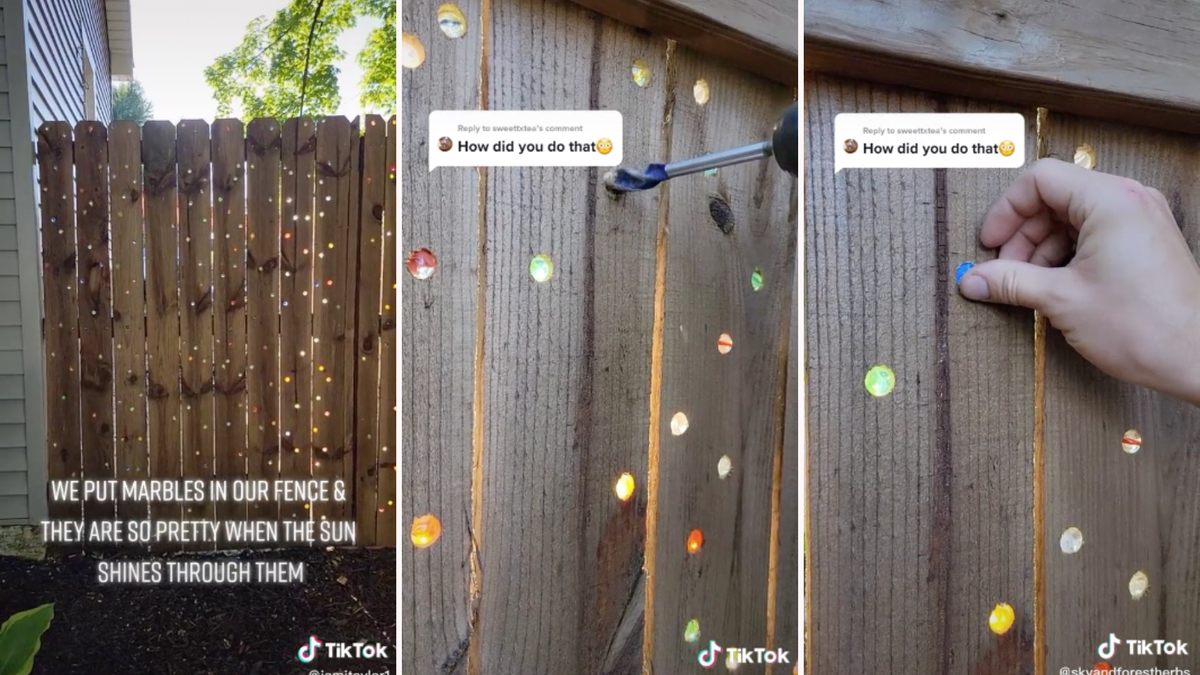 A wooden fence covered with inset marbles, someone drilling a hole in a fence, and placing a marble in it.