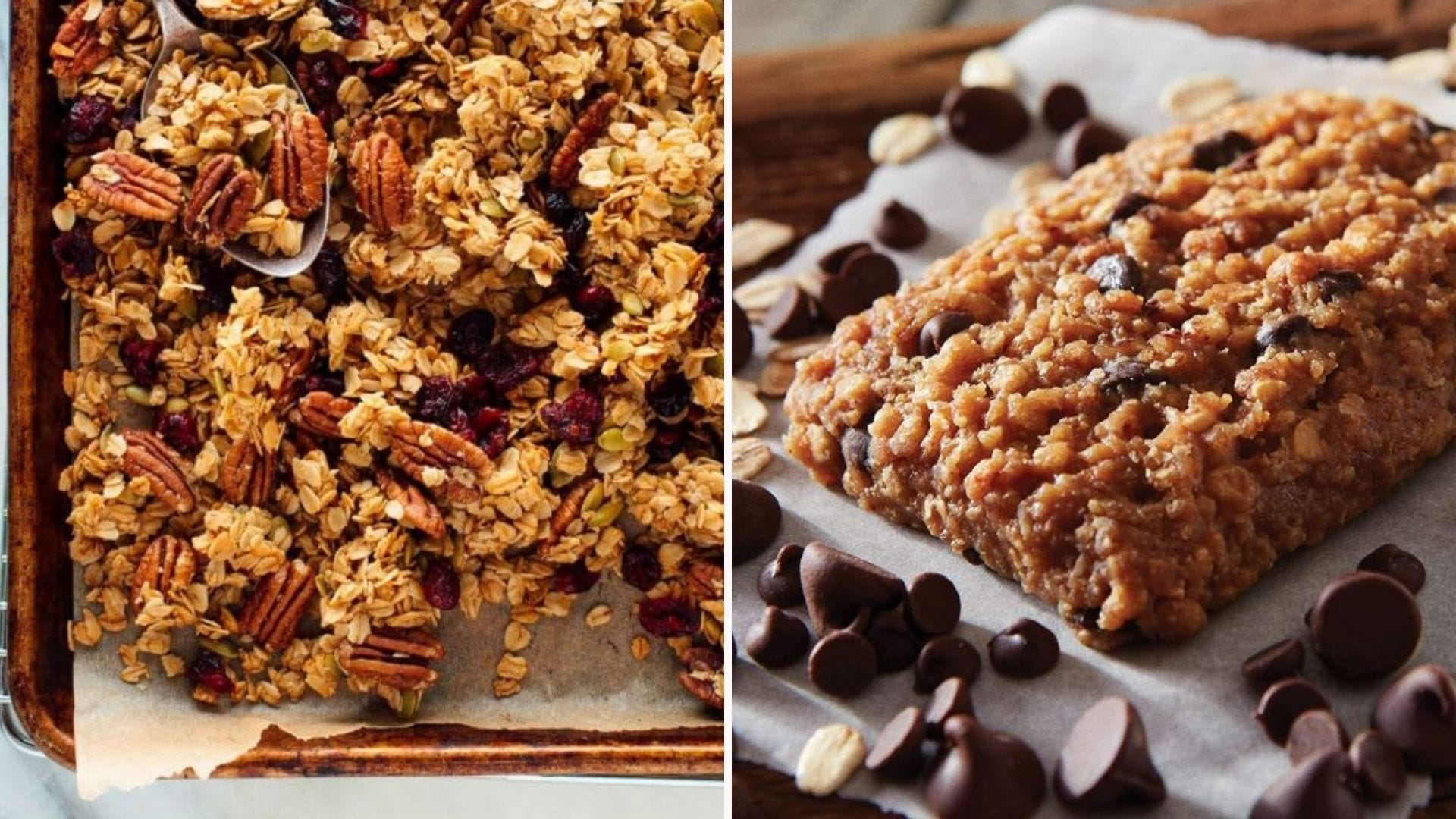A baking pan full of homemade granola and a CLIF protein bar.