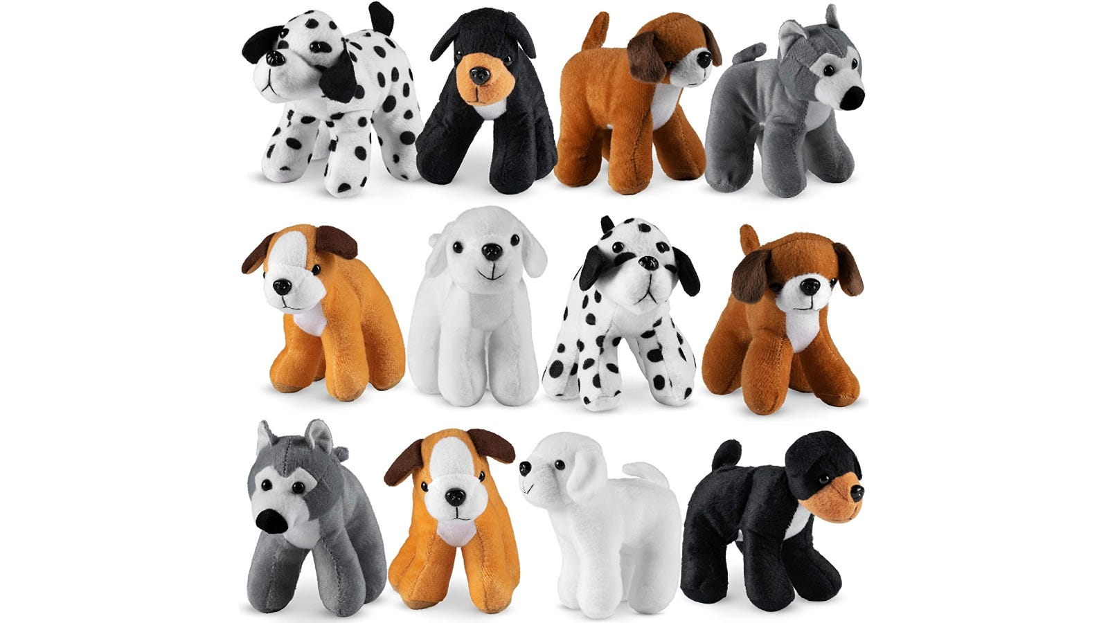 Twelve dog stuffed animals with different colored fur and patterns.