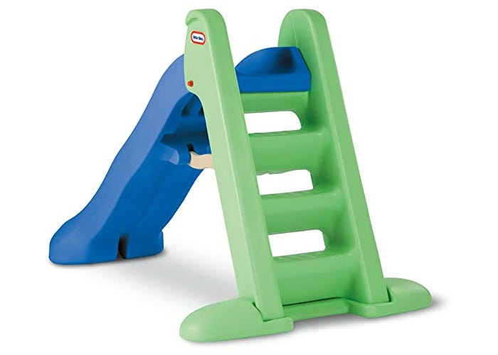 green and blue toddler slide stair view