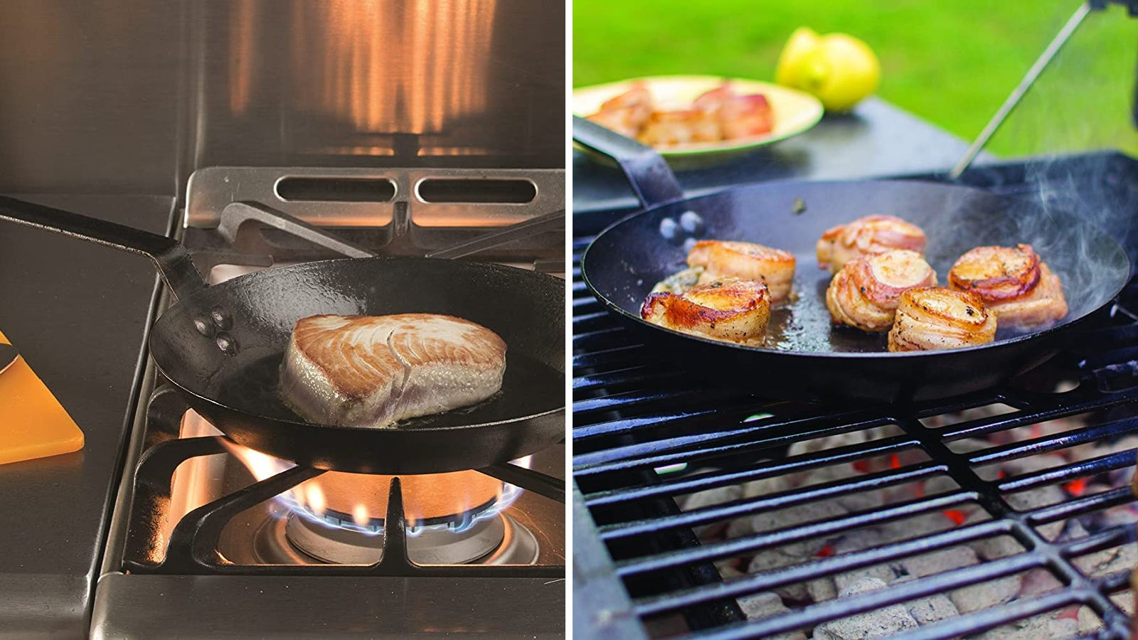 Two images featuring the Lodge carbon steel skillet. The left image features someone searing a tuna steak using the skillet and the right image features someone cooking bacon-wrapped scallops over a grill using the skillet.