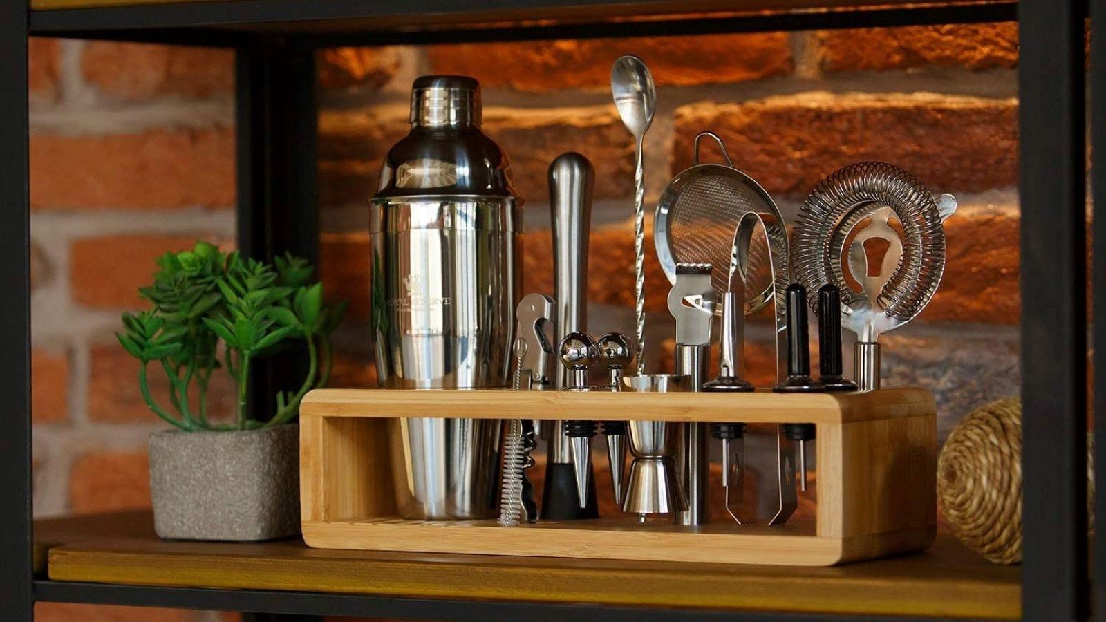 The Cocktail Mixology Shaker Set on a shelf.