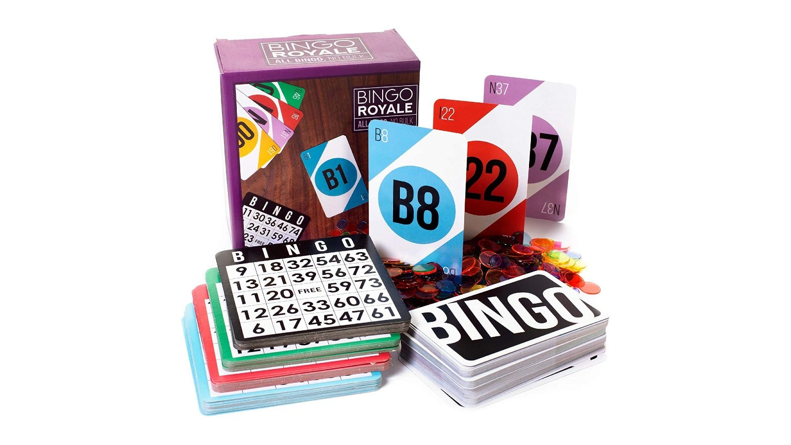 a bingo set with a lot of cards