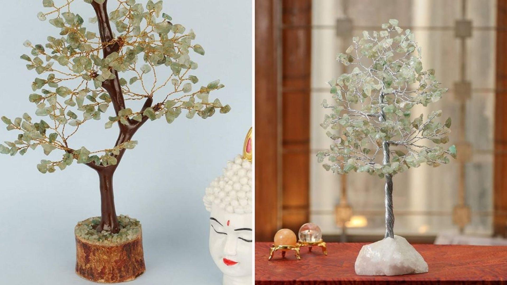 Two jade gemstone tabletop trees.