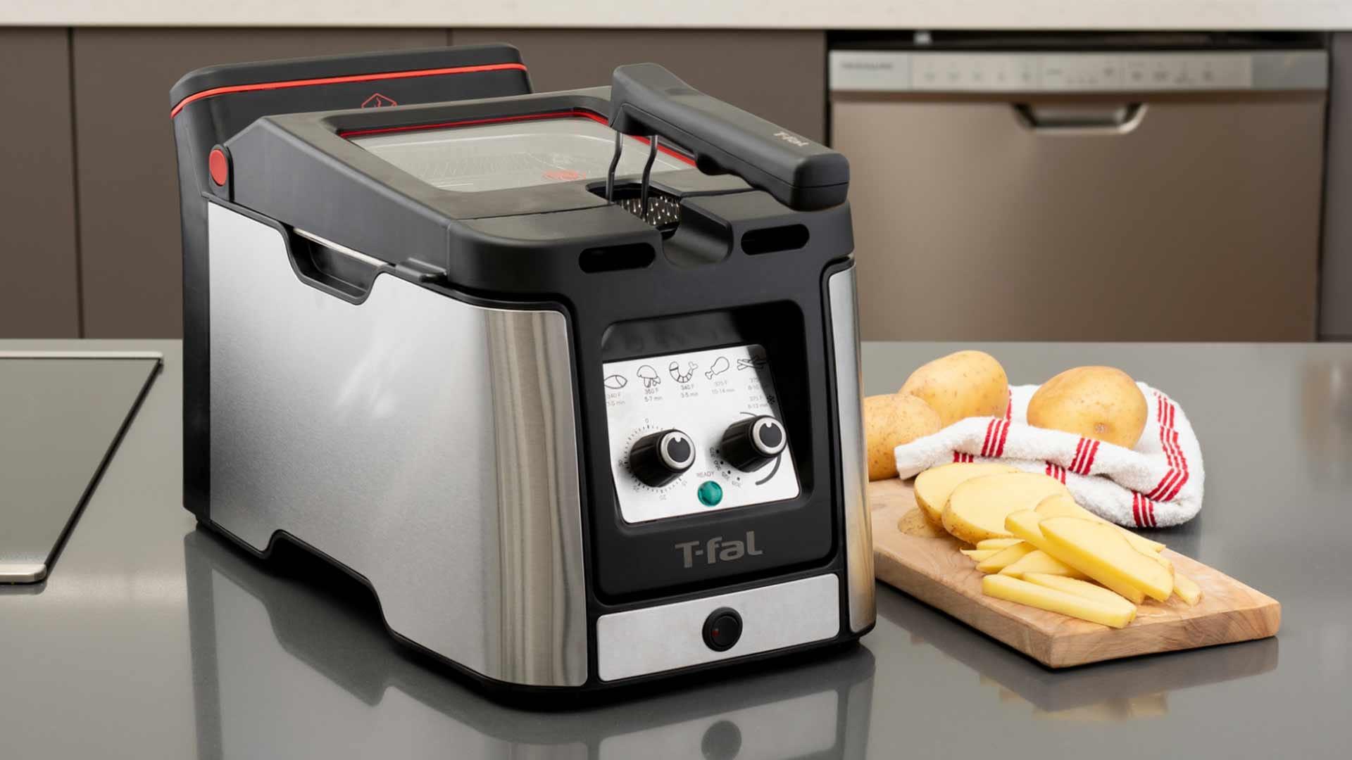 A T-Fal countertop deep fryer in a modern kitchen.