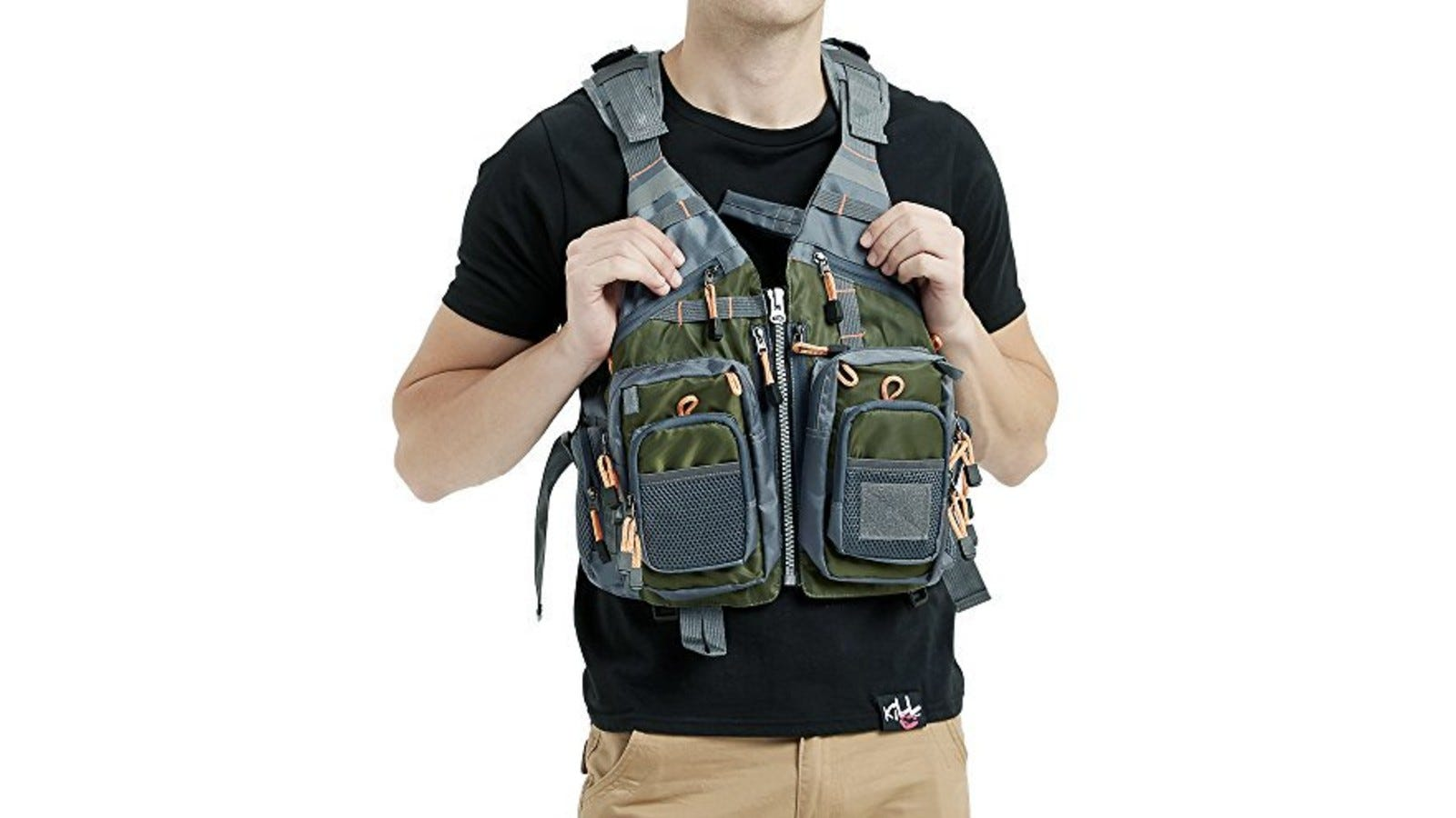 This fishing life vest has an expandable storage function