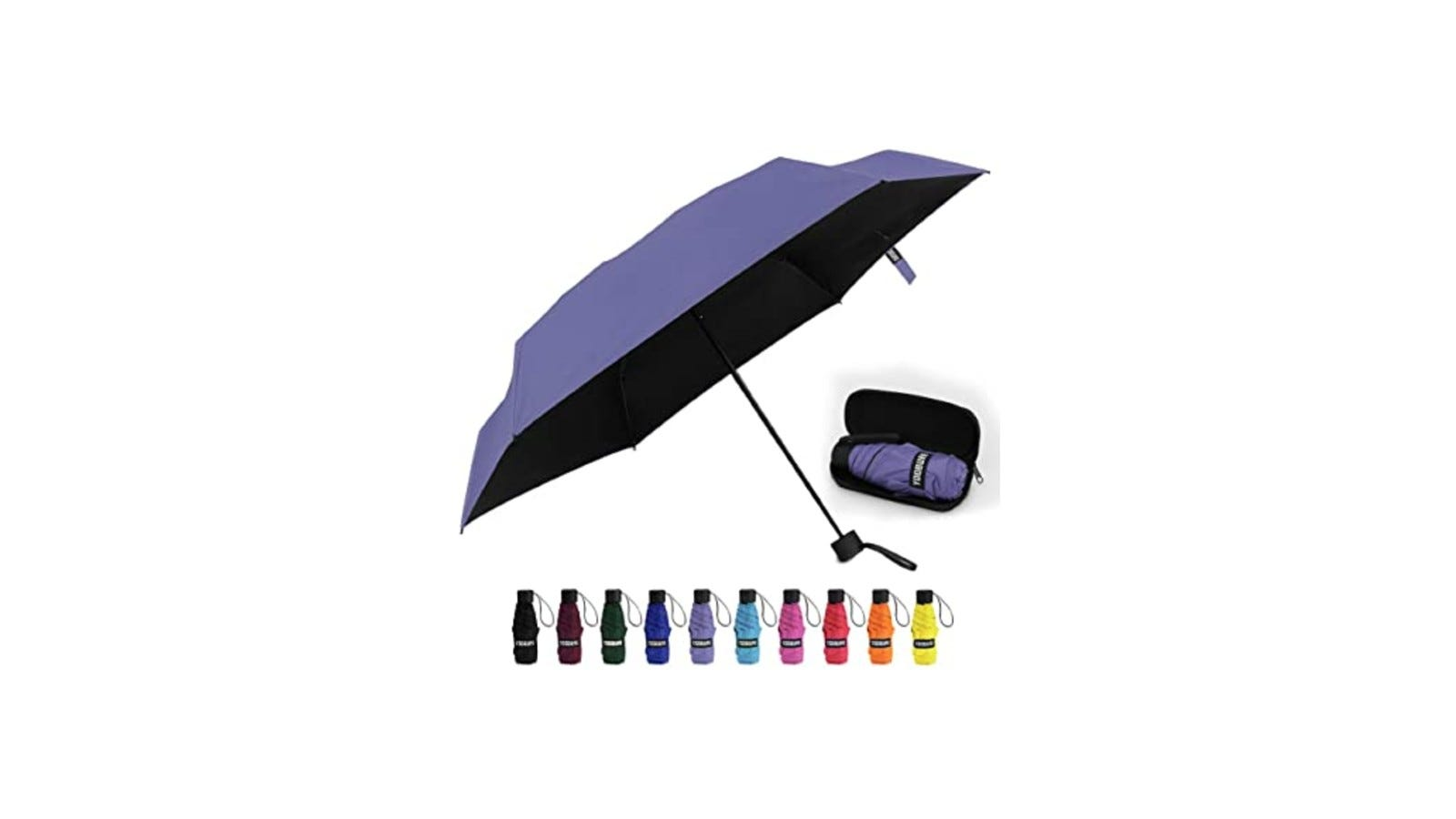 a navy mini umbrella shown with other color options below it