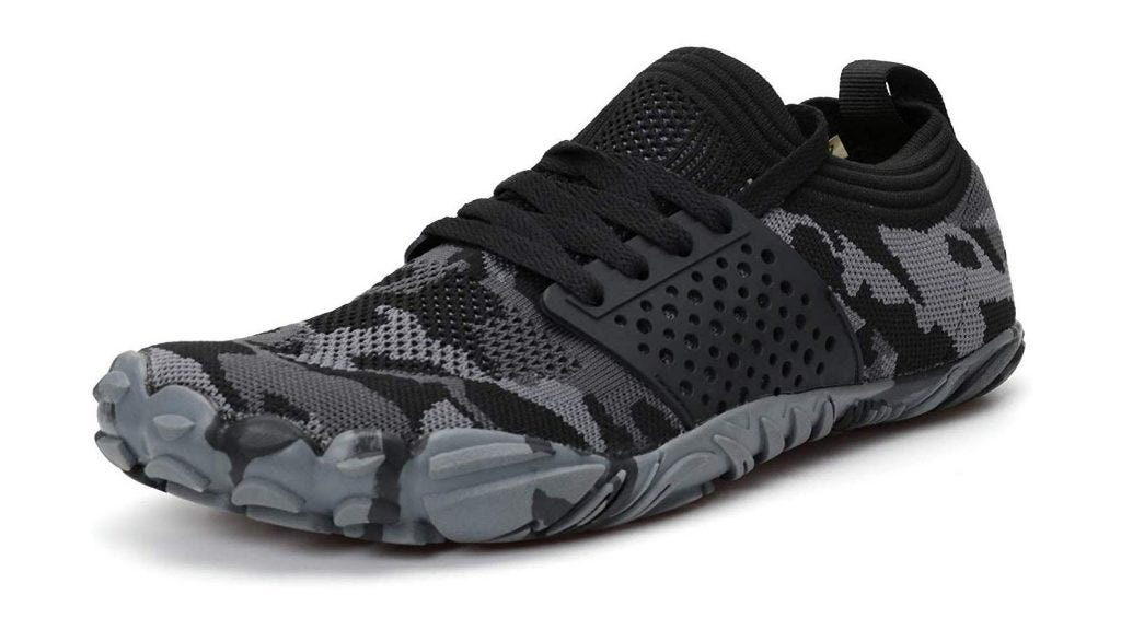 a black and gray camo-printed weightlifting shoe