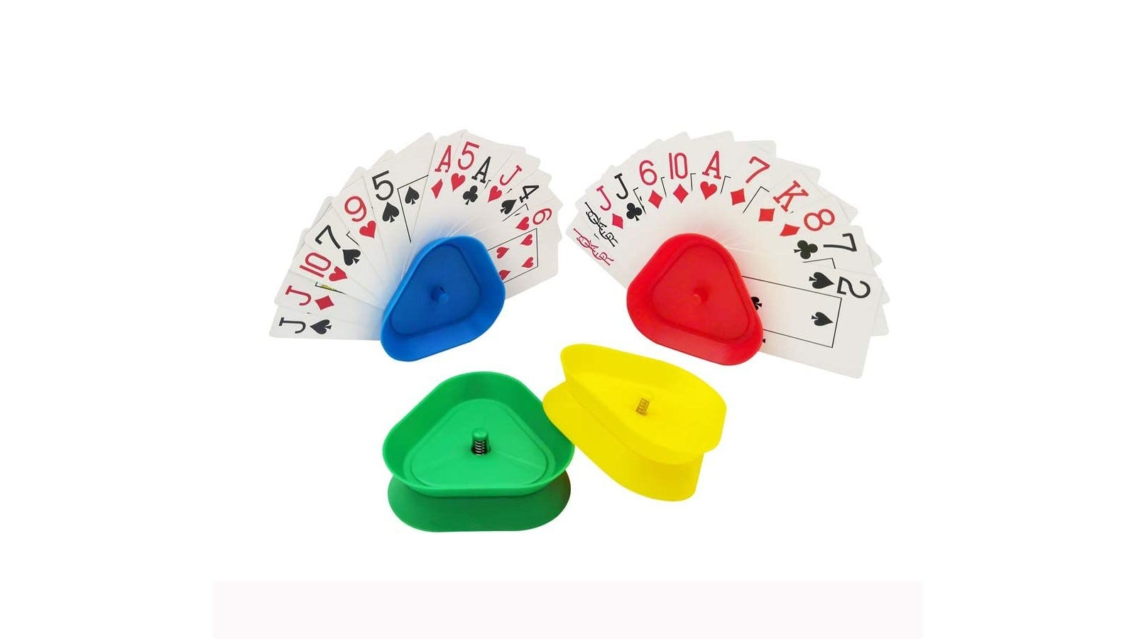 four card holders in green, yellow, red, and blue; two are empty, and two are full of face cards