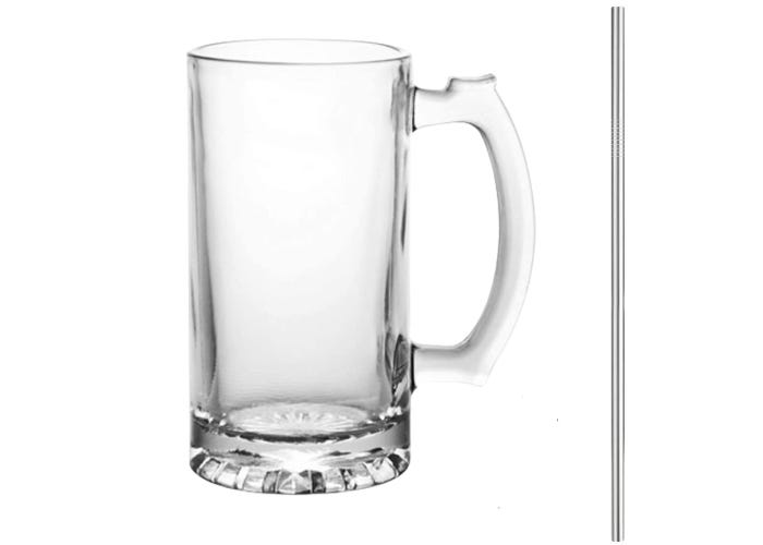 empty beer glass with handle and metal straw