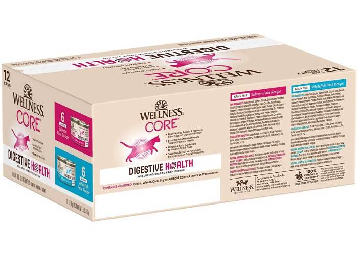 A beige box of wellness core cat food.