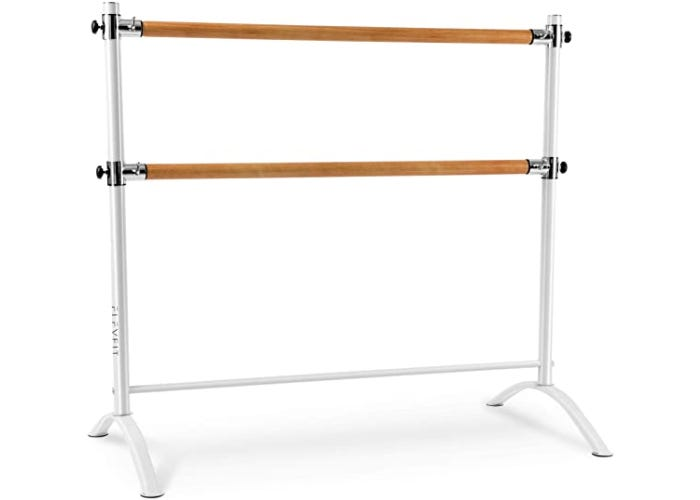A white barre stand with two wooden bars.