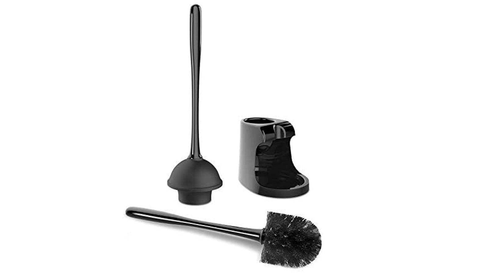 A black plunger, toilet brush, and matching stand against a white background.
