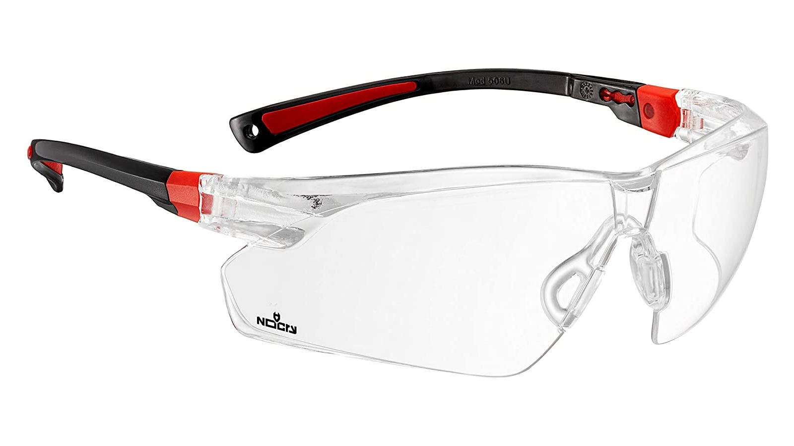 A pair of clear, red and black safety glasses