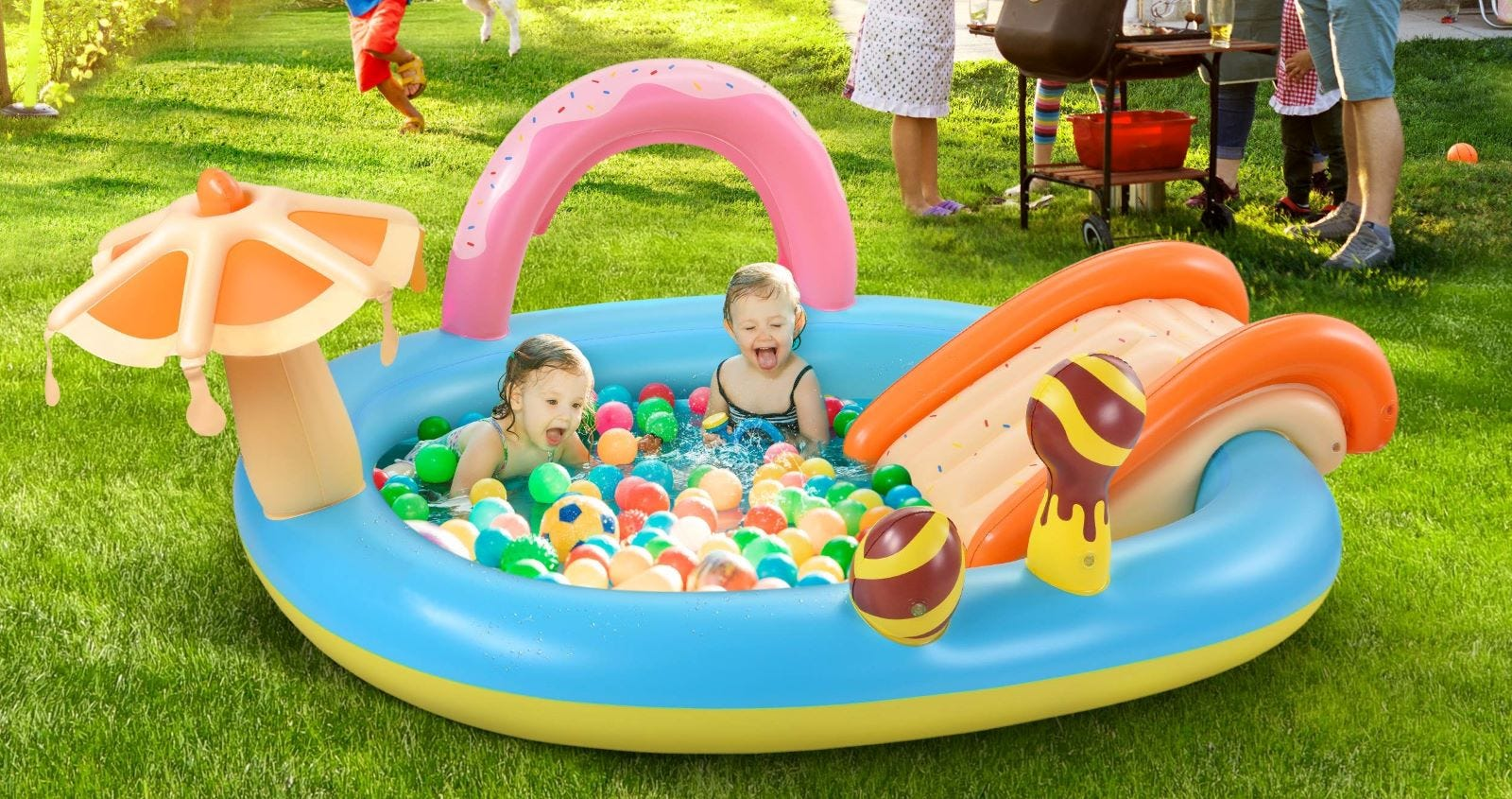 Two children in the Hesung Inflatable Play Set