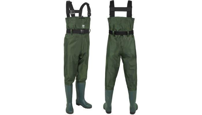 The front and back view of a pair of green fishing waders with green boots, an adjustable waistband, and a top draw cord.