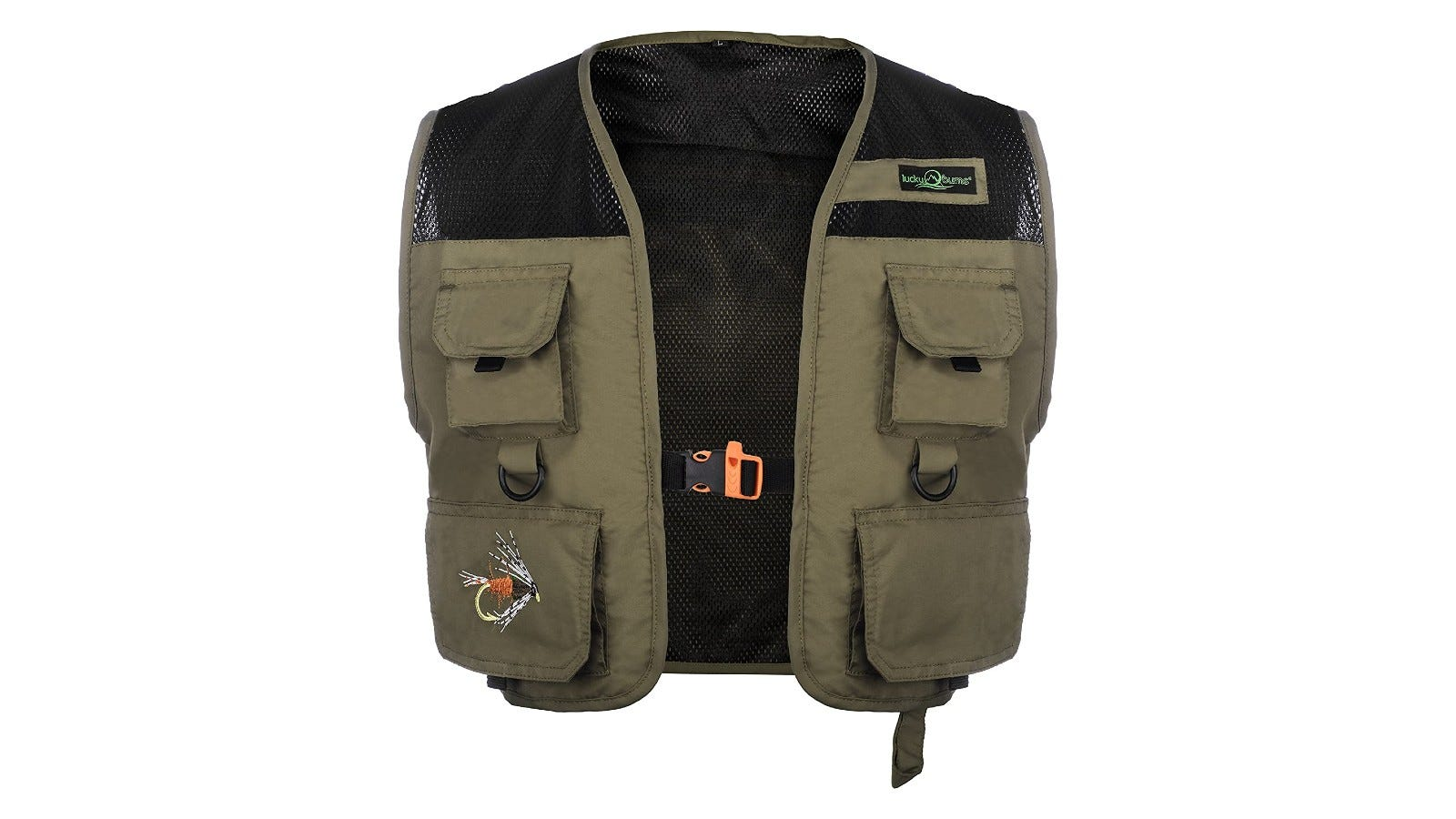 A small fishing life vest with four pockets on the front