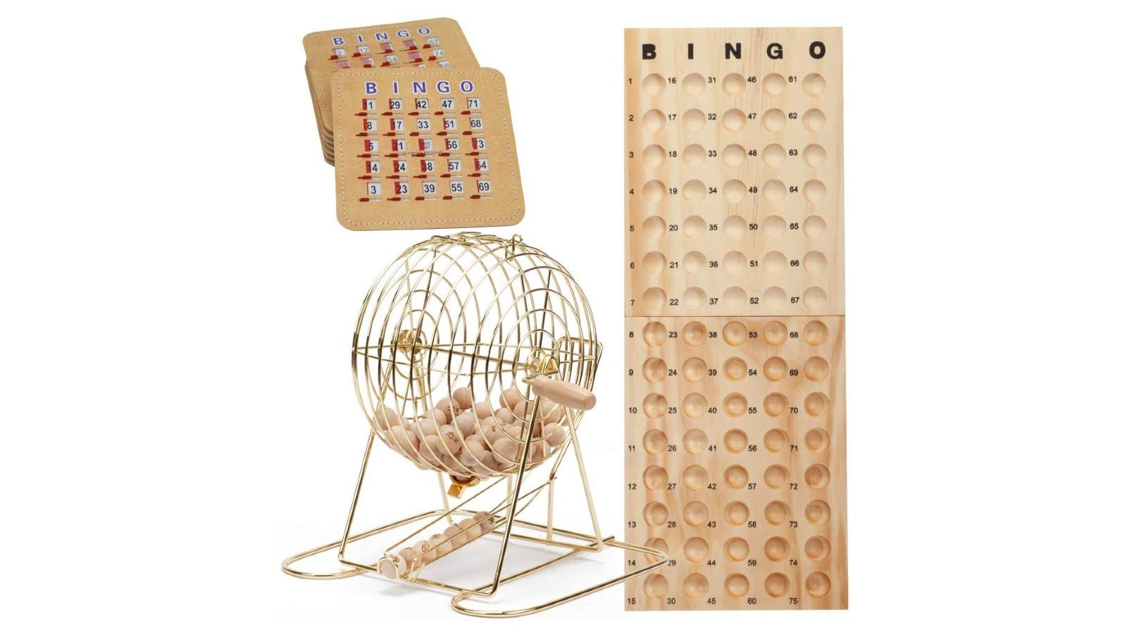 A traditional wooden bingo set with a golden cage and wooden boards